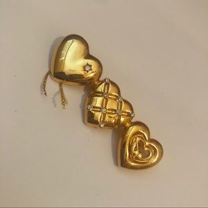 St. John Gold Plated Hearts Pin Brooch